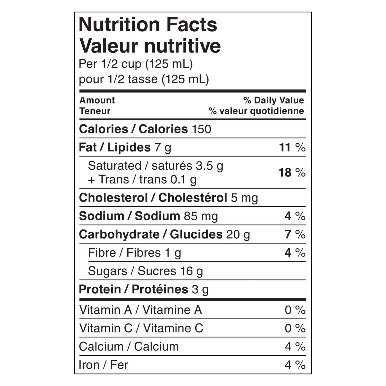 Breyers Reese Chocolate 1.66 L nutritional panel