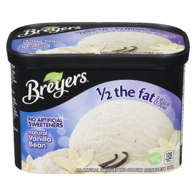 Breyers Half the Fat Natural Vanilla Bean 1.66 L front of pack