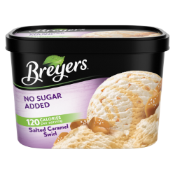 A 48 ounce tub of Breyers® No Sugar Added Caramel Swirl simple pack image