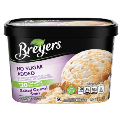 [A 48 ounce tub of Breyers® No Sugar Added Caramel Swirl front of pack, A 48 ounce tub of Breyers® No Sugar Added Caramel Swirl simple pack image, A 48 ounce tub of Breyers® No Sugar Added Caramel Swirl Nutritional Panel, A 48 ounce tub of Breyers® No Sugar Added Caramel Swirl Ingredient List, Kosher Certified Dairy logo, 100% Grade A Milk and Cream button, Breyers® pledge statement]