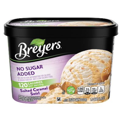 A 48 ounce tub of Breyers® No Sugar Added Caramel Swirl front of pack