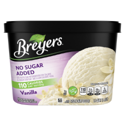 [A 48 ounce tub of Breyers® No Sugar Added Vanilla front of pack, A 48 ounce tub of Breyers® No Sugar Added Vanilla simple pack image, A 48 ounce tub of Breyers® No Sugar Added Vanilla Nutritional Panel, A 48 ounce tub of Breyers® No Sugar Added Vanilla Ingredient List, Gluten Free Logo, Kosher Certified Dairy logo, 100% Grade A Milk and Cream button, Breyers® pledge statement]