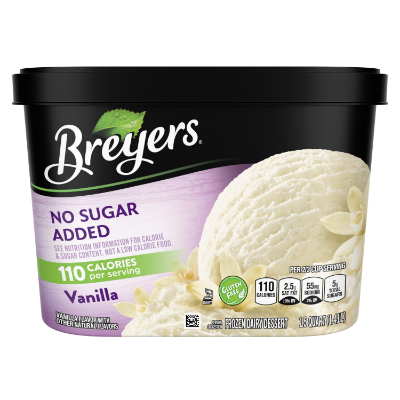 Un envase de 48 onzas de Breyers® No Sugar Added Vanilla en la parte frontal del paquete