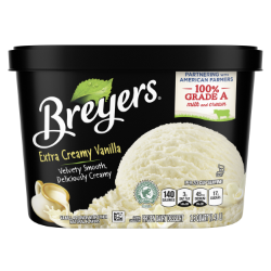 [A 48 ounce tub of Breyers® Extra Creamy Vanilla front of pack, A 48 ounce tub of Breyers® Extra Creamy Vanilla simple pack image, A 48 ounce tub of Breyers® Extra Creamy Vanilla Nutritional Panel, A 48 ounce tub of Breyers® Extra Creamy Vanilla ingredient list, Gluten Free Logo, Kosher Certified Dairy logo, 100% Grade A Milk and Cream button, Breyers® pledge statement]