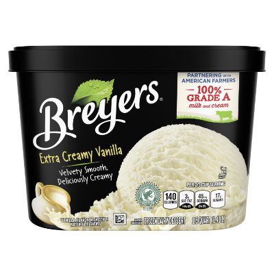 A 48 ounce tub of Breyers® Extra Creamy Vanilla front of pack