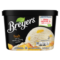 [A 48 ounce tub of Breyers® Peach front of pack, A 48 ounce tub of Breyers® Peach simple pack image, A 48 ounce tub of Breyers® Peach Nutritional Panel, A 48 ounce tub of Breyers® Peach ingredient list, Gluten Free Logo, Kosher Certified Dairy logo, 100% Grade A Milk and Cream button, Breyers® pledge statement button]