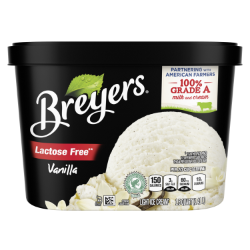 [A 48 ounce tub of Breyers® Lactose Free Vanilla front of pack, A 48 ounce tub of Breyers® Lactose Free Vanilla simple pack image, A 48 ounce tub of Breyers® Lactose Free Vanilla Nutritional Panel, A 48 ounce tub of Breyers® Lactose Free Vanilla Ingredient List, Gluten Free Logo, Kosher Certified Dairy logo, 100% Grade A Milk and Cream button, Breyers® pledge statement]