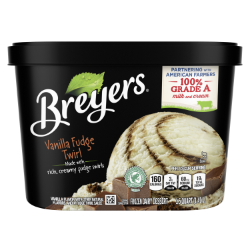 [A 48 ounce tub of Breyers® Vanilla Fudge Twirl front of pack, A 48 ounce tub of Breyers® Vanilla Fudge Twirl simple pack image, A 48 ounce tub of Breyers® Vanilla Fudge Twirl Nutritional Panel, A 56 ounce tub of Breyers® Chocolate ingredient list, Gluten Free Logo, Kosher Certified Dairy logo, Breyers® pledge statement, Rainforest Alliance certified vanilla logo]