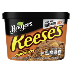 [A 48 ounce tub of Breyers® Reese's Chocolate front of pack, A 48 ounce tub of Breyers® Reese's Chocolate simple pack image, A 48 ounce tub of Breyers® Reese's Chocolate Nutritional Panel, A 48 ounce tub of Breyers® Reese's Chocolate Ingredient List, 100% Grade A Milk and Cream button, Kosher Certified Dairy logo]