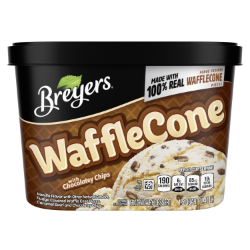 [A 48 ounce tub of Breyers® Waffle Cone front of pack, A 48 ounce tub of Breyers® Waffle Cone simple pack image, A 48 ounce tub of Breyers® Waffle Cone Nutritional Panel, A 48 ounce tub of Breyers® Waffle Cone Ingredient List, A 48 ounce tub of Breyers® Waffle Cone barcode, A 48 ounce tub of Breyers® Waffle Cone back of pack, 100% Grade A Milk and Cream button, Breyers® pledge statement]