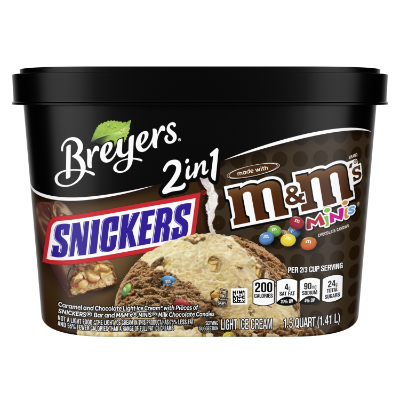 A 48 ounce tub of Breyers® SNICKERS® & M&M's® 2in1 front of pack
