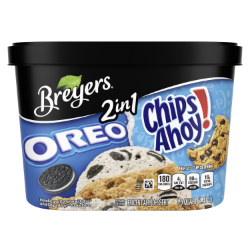 [A 48 ounce tub of Breyers® OREO® & CHIPS AHOY!® 2in1 front of pack, A 48 ounce tub of Breyers® OREO® & CHIPS AHOY!® 2in1 simple pack image, A 48 ounce tub of Breyers® OREO® & CHIPS AHOY!® 2in1 Nutritional Panel, A 48 ounce tub of Breyers® OREO® & CHIPS AHOY!® 2in1 ingredient list, A 48 ounce tub of Breyers® OREO® & CHIPS AHOY!® 2in1 barcode, A 48 ounce tub of Breyers® OREO® & CHIPS AHOY!® 2in1 front of pack, 100% Grade A Milk and Cream button, Kosher Certified Dairy logo]