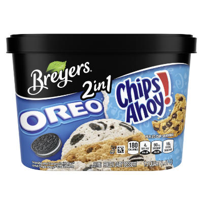 A 48 ounce tub of Breyers® OREO® & CHIPS AHOY!® 2in1 front of pack
