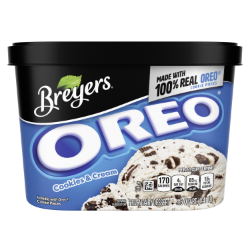 [A 48 ounce tub of Breyers® OREO® front of pack, A 48 ounce tub of Breyers® OREO® simple pack image, A 48 ounce tub of Breyers® OREO® Nutritional Panel, A 48 ounce tub of Breyers® OREO® Ingredient List, A 48 ounce tub of Breyers® OREO® barcode, A 48 ounce tub of Breyers® OREO® back of pack, 100% Grade A milk and cream logo, Breyers® pledge statement]