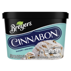 [A 48 ounce tub of Breyers® CINNABON® front of pack, A 48 ounce tub of Breyers® CINNABON® simple pack image, A 48 ounce tub of Breyers® CINNABON® Nutritional Panel, A 48 ounce tub of Breyers® CINNABON® Ingredient List, 100% Grade A Milk and Cream button, Breyers® pledge statement, Kosher Certified Dairy logo]