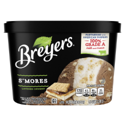 [A 48 ounce tub of Breyers® Layered Dessert S'mores front of pack, A 48 ounce tub of Breyers® Layered Dessert S'mores simple pack image, A 48 ounce tub of Breyers® Layered Dessert S'mores Nutritional Panel, A 48 ounce tub of Breyers® Layered Dessert S'mores ingredient list, 100% Grade A Milk and Cream button, Breyers® pledge statement, Kosher Certified Dairy logo]