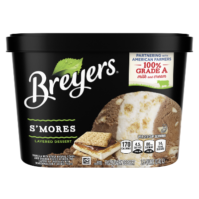 A 48 ounce tub of Breyers® Layered Dessert S'mores front of pack