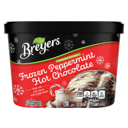 A 48 ounce tub of Breyers® Frozen Peppermint Hot Chocolate front of pack