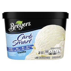 [A 48 ounce tub of Breyers® CarbSmart™ Vanilla front of pack, A 48 ounce tub of Breyers® CarbSmart™ Vanilla simple pack image, A 48 ounce tub of Breyers® CarbSmart™ Vanilla Nutritional Panel, A 48 ounce tub of Breyers® CarbSmart™ Vanilla ingredient list, 100% Grade A Milk and Cream button, Breyers® pledge statement, Kosher Certified Dairy logo]