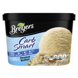 [A 48 ounce tub of Breyers® CarbSmart™ Peanut Butter front of pack, A 48 ounce tub of Breyers® CarbSmart™ Peanut Butter simple pack image, A 48 ounce tub of Breyers® CarbSmart™ Peanut Butter Nutritional Panel, A 48 ounce tub of Breyers® CarbSmart™ Peanut Butter ingredient list, A 48 ounce tub of Breyers® CarbSmart™ Peanut Butter barcode, 100% Grade A milk and cream logo, Breyers® pledge statement]