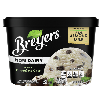 A 48 ounce tub of Breyers® Non-Dairy Mint Chocolate Chip front of pack