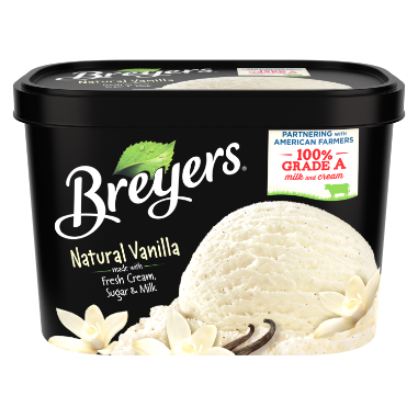 A 48 ounce tub of Breyers Natural Vanilla front of pack