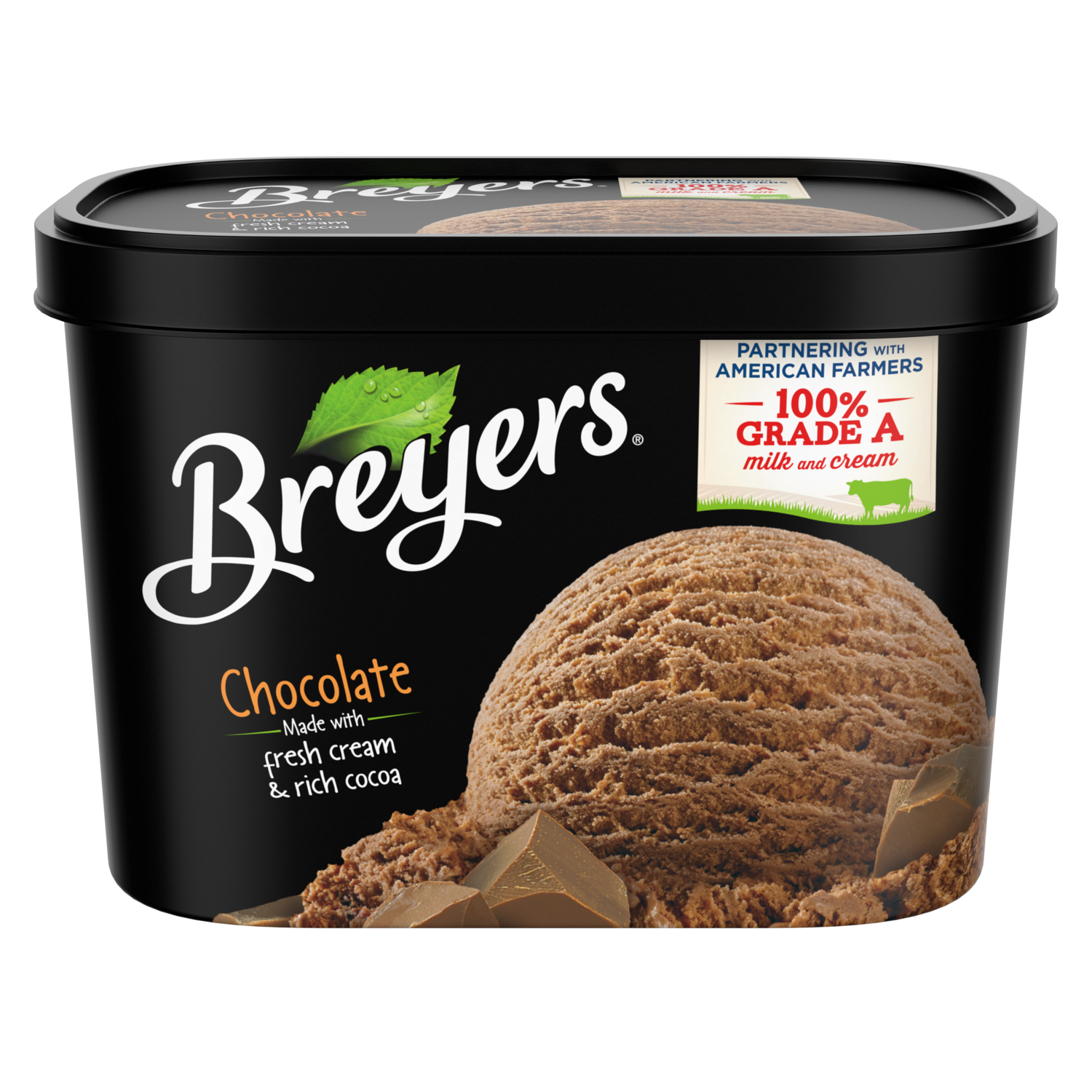 A 48 ounce tub of Breyers Chocolate front of pack