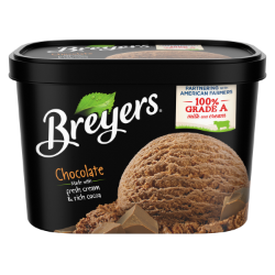 [A 48 ounce tub of Breyers® Chocolate front of pack, A 48 ounce tub of Breyers® Chocolate simple pack image, A 48 ounce tub of Breyers® Chocolate Nutritional Panel, A 56 ounce tub of Breyers® Homemade Vanilla ingredient list, A 56 ounce tub of Breyers® Homemade Vanilla barcode, A 48 ounce tub of Breyers® Chocolate front of pack, 100% Grade A Milk and Cream button, Made with Non-GMO sourced ingredients logo]