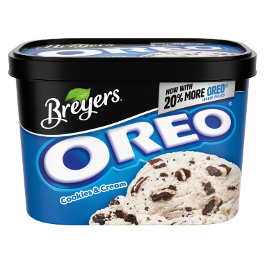 [A 48 ounce tub of Breyers Oreo front of pack, A 48 ounce tub of Breyers Oreo simple pack image, A 48 ounce tub of Breyers Oreo Nutritional Panel, A 48 ounce tub of Breyers Oreo Ingredient List, A 48 ounce tub of Breyers Oreo barcode, A 48 ounce tub of Breyers Oreo front of pack, Now with 20% More Oreo Cookie Pieces, Breyers pledge statement]