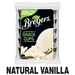 A 10 count bag of 3 ounce cups tub of Breyers® Natural Vanilla Snack Cups simple pack image