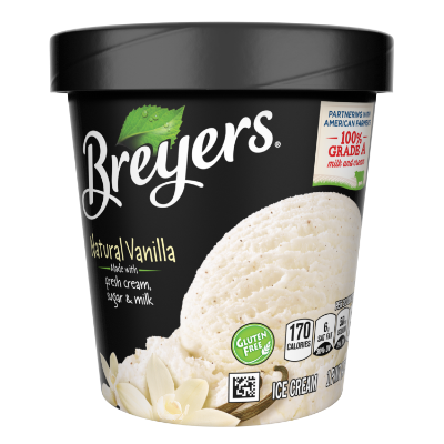 A 16 ounce tub of Breyers® Natural Vanilla front of pack