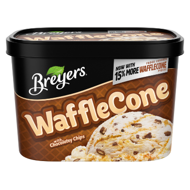 [A 48 ounce tub of Breyers Waffle Cone front of pack, A 48 ounce tub of Breyers Waffle Cone simple pack image, A 48 ounce tub of Breyers Waffle Cone Nutritional Panel, A 48 ounce tub of Breyers Waffle Cone Ingredient List, A 48 ounce tub of Breyers Waffle Cone barcode, A 48 ounce tub of Breyers Waffle Cone front of pack, Now with 15% more Chocolate Covered Waffle Pieces, Breyers pledge statement]