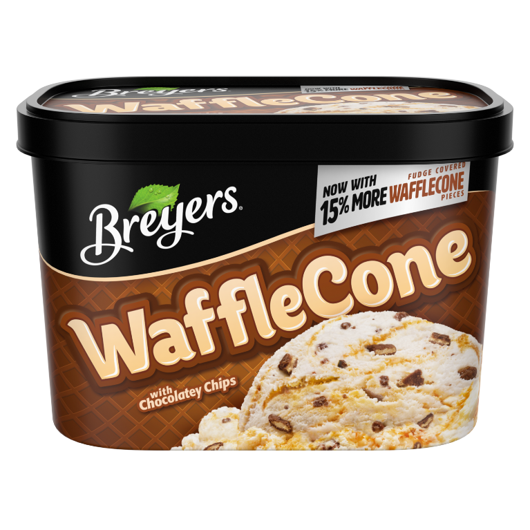 A 48 ounce tub of Breyers Waffle Cone front of pack