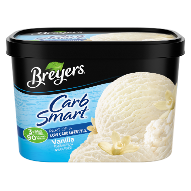 A 48 ounce tub of Breyers CarbSmart Vanilla front of pack