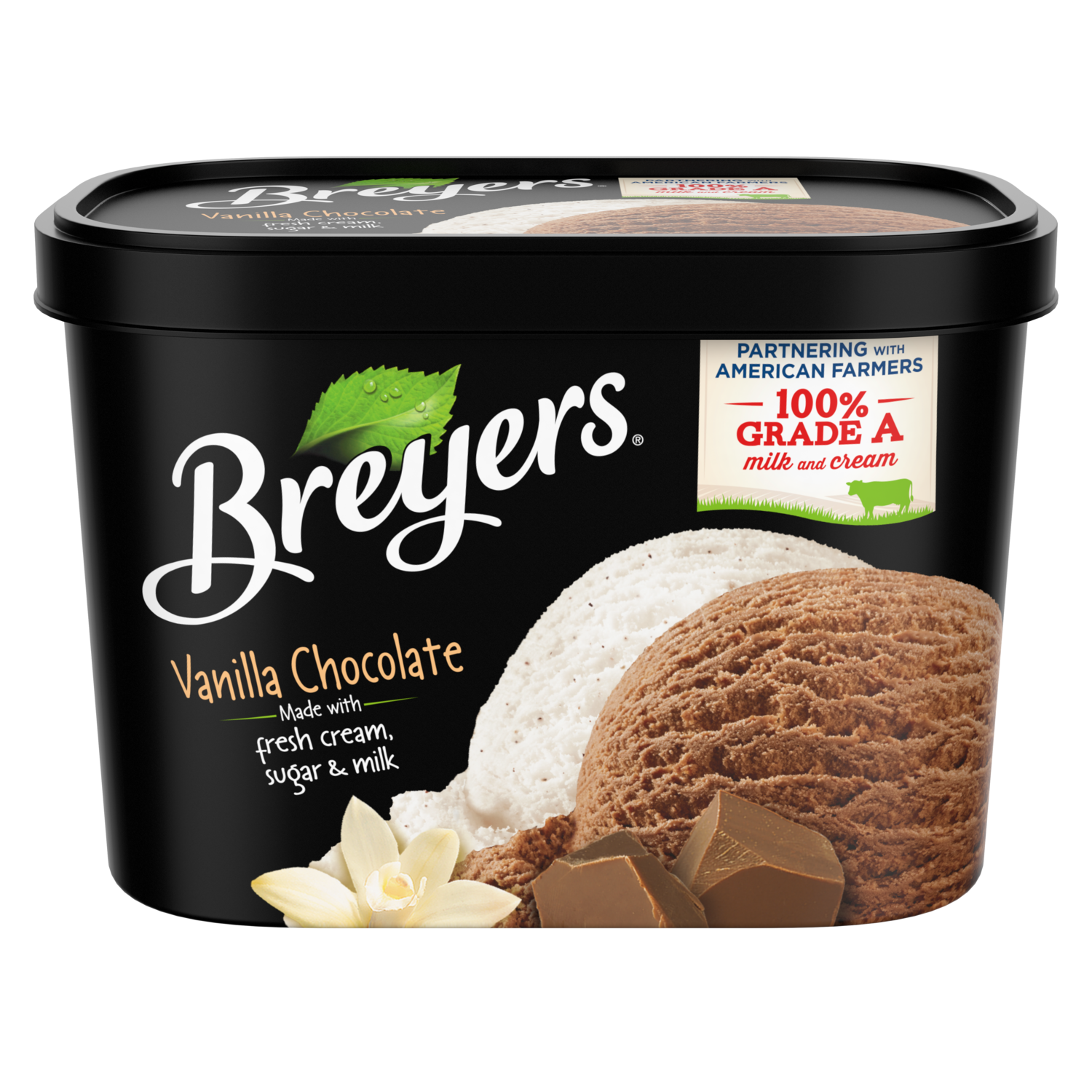 A 48 ounce tub of Breyers Vanilla Chocolate front of pack