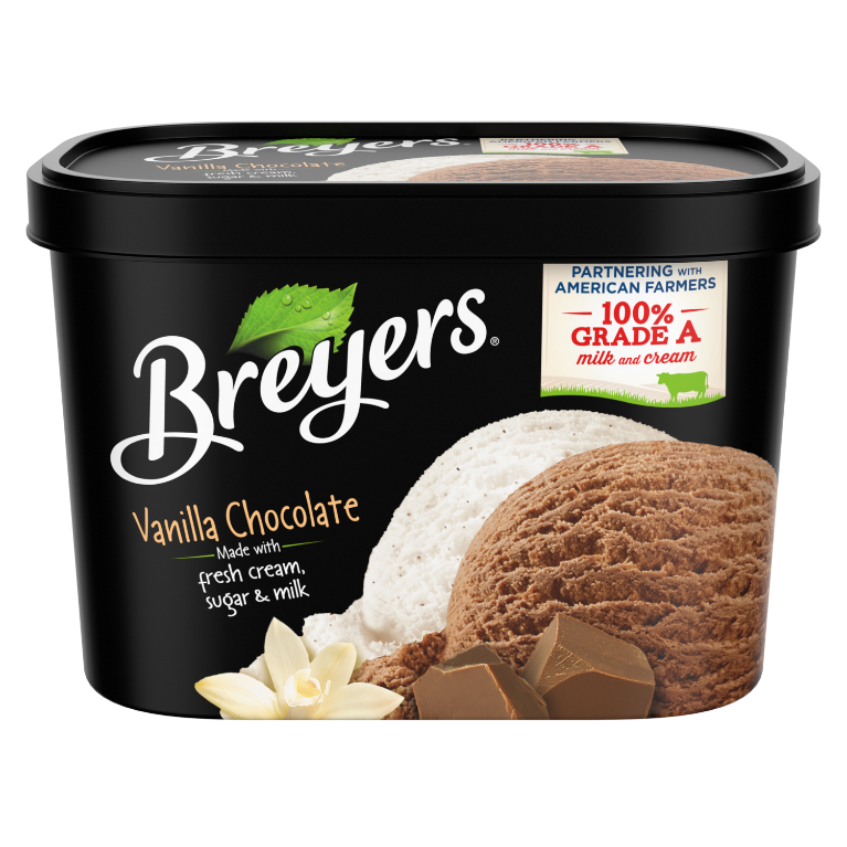 A 48 ounce tub of Breyers® Vanilla Chocolate front of pack