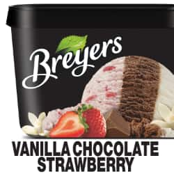 A 48 ounce tub of Breyers® Vanilla Chocolate Strawberry simple pack image