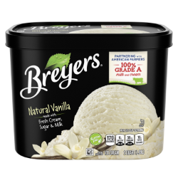 A 64 ounce tub of Breyers® Natural Vanilla front of pack