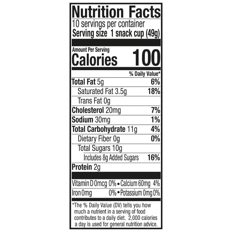 A 10 count bag of 3 ounce cups tub of Breyers Natural Vanilla Snack Cups Nutritional Panel