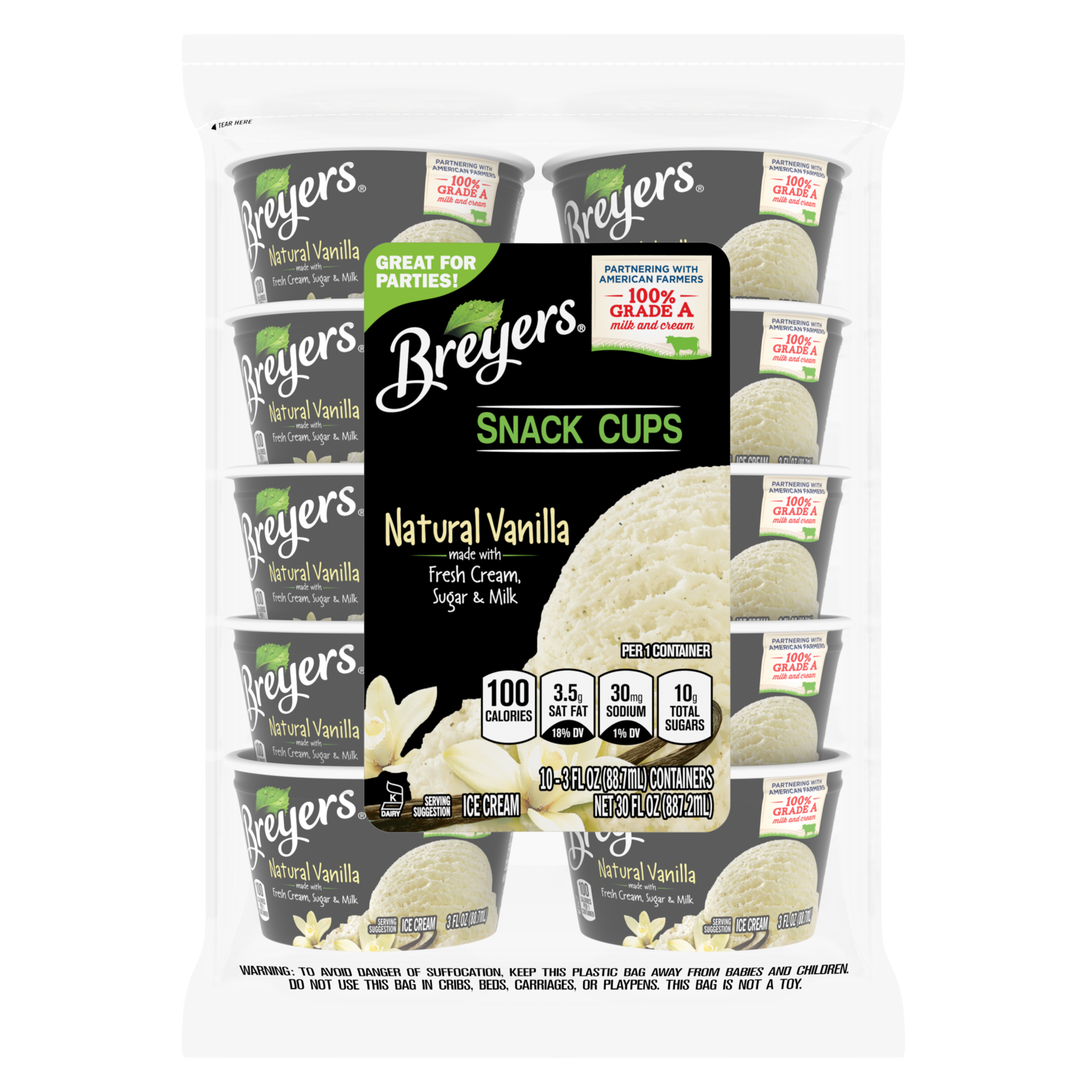 Breyers Original Ice Cream Natural Vanilla Snack Cups 3 oz