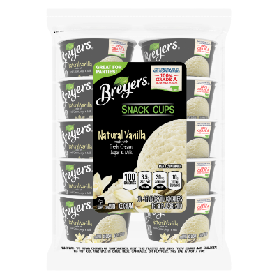 A 10 count bag of 3 ounce cups of Breyers® Natural Vanilla Snack Cups front of pack