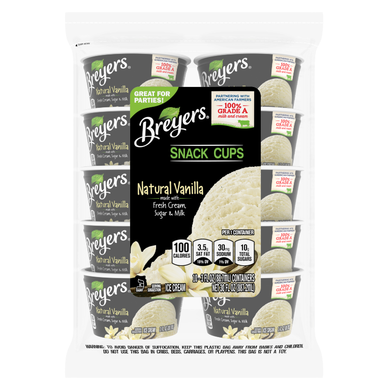 A 10 count bag of 3 ounce cups of Breyers Natural Vanilla Snack Cups front of pack