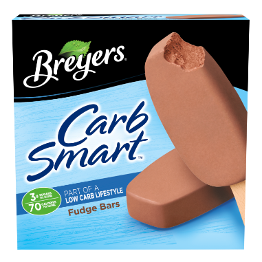 [A 6 pack carton of Breyers CarbSmart Fudge Bar front of pack, A 6 pack carton of Breyers CarbSmart Fudge Bar simple pack image, A 6 pack carton of Breyers CarbSmart Fudge Bar Nutritional Panel, A 6 pack carton of Breyers CarbSmart Fudge Bar ingredient list, A 6 pack carton of Breyers CarbSmart Fudge Bar barcode, A 6 pack carton of Breyers CarbSmart Fudge Bar front of pack, Sugar and Calorie Callout, Breyers pledge statement]