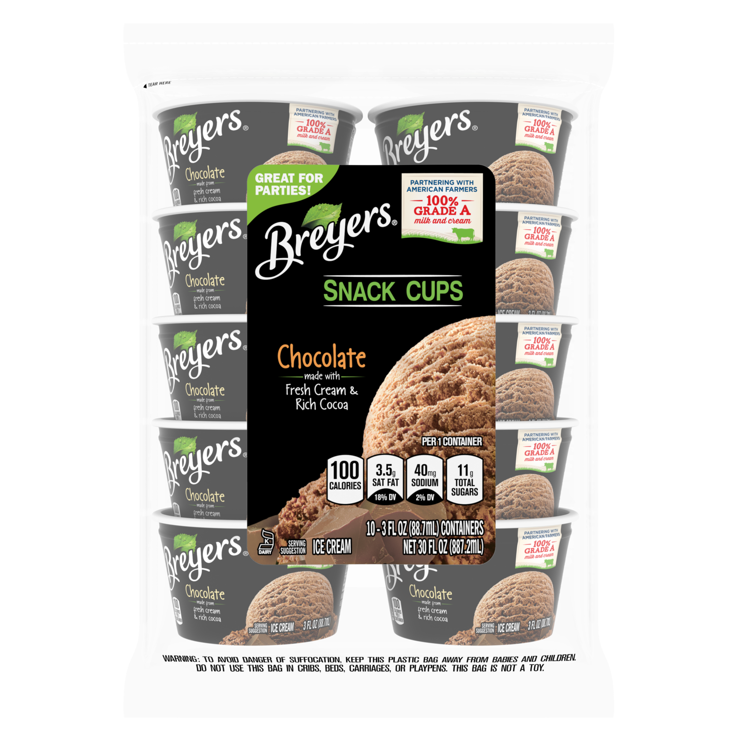 A 10 count bag of 3 ounce cups of Breyers Chocolate Snack Cups  front of pack