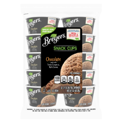 [A 10 count bag of 3 ounce cups of Breyers® Chocolate Snack Cups front of pack, A 10 count bag of 3 ounce cups tub of Breyers® Chocolate Snack Cups simple pack image, A 10 count bag of 3 ounce cups tub of Breyers® Chocolate Snack Cups back of pack, A 10 count bag of 3 ounce cups tub of Breyers® Chocolate Snack Cups Nutritional Panel, A 10 count bag of 3 ounce cups tub of Breyers® Chocolate Snack Cups Ingredient List, A 10 count bag of 3 ounce cups tub of Breyers® Chocolate Snack Cups barcode, 100% Grade A Milk and Cream button, Breyers® pledge statement, Great for Parties]