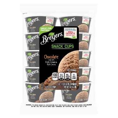 [A 10 count bag of 3 ounce cups of Breyers Chocolate Snack Cups  front of pack, A 10 count bag of 3 ounce cups tub of Breyers Chocolate Snack Cups simple pack image, A 10 count bag of 3 ounce cups tub of Breyers Chocolate Snack Cups back of pack, A 10 count bag of 3 ounce cups tub of Breyers Chocolate Snack Cups Nutritional Panel, A 10 count bag of 3 ounce cups tub of Breyers Chocolate Snack Cups Ingredient List, A 10 count bag of 3 ounce cups tub of Breyers Chocolate Snack Cups barcode, No Artificial Growth Hormones used on our cows logo, Breyers pledge statement, Great for Parties]