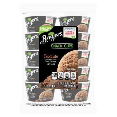 A 10 count bag of 3 ounce cups of Breyers® Chocolate Snack Cups front of pack