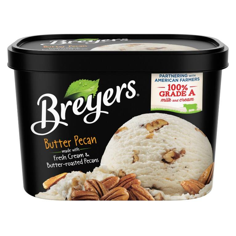 A 48 ounce tub of Breyers Butter Pecan front of pack