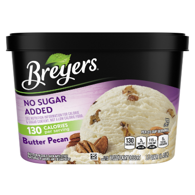 Un envase de 48 onzas de Breyers® No Sugar Added Butter Pecan en la parte frontal del paquete