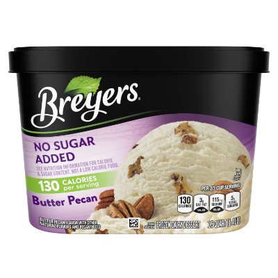 A 48 ounce tub of Breyers® No Sugar Added Butter Pecan front of pack